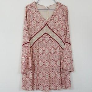 Entro NWT Cream Red Boho Print Bell Sleeve Dress S
